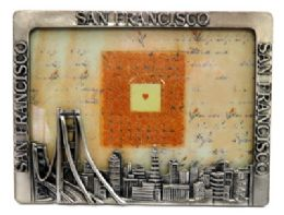 6 Units of Pewter Picture Frame With The San Francisco Sky Line Along The Bottom And San Francisco Written Across The Top And Both Sides - Picture Frames