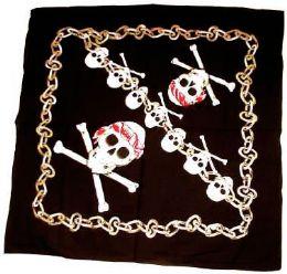 72 Units of Black bandana with skulls - Bandanas
