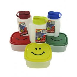 72 Units of 16oz Bottle W/ Lid & 5x5'' Happy Face Plastic Container - Cooler & Lunch Bags