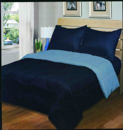 3 Units of Luxury Reversible Comforter Blanket King Size 101 x 86 Navy Light Blue - Blankets & Bedding
