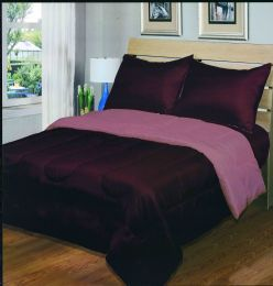 3 Units of Luxury Reversible Comforter Blanket King Size 101 x 86 Burgundy Rose - Blankets & Bedding