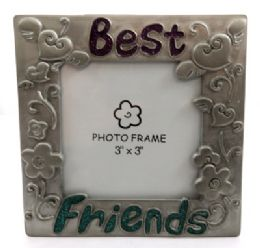 """10 Units of Square Shaped, Pewter Picture Frame With Hearts And Flower Designs On Each Side And The Word """"best"""" Written Across The Top And """"friends"""" Written Across The Bottom - Picture Frames"""