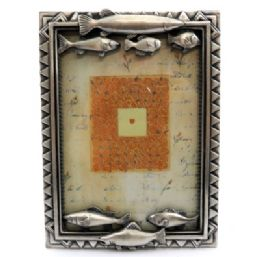 10 Units of Pewter Picture Frame With 4 Fish Along The Top And 3 Fish Along The Bottom - Picture Frames
