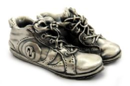 16 Units of Pewter paper weight shaped as a pair of tennis shoes with the Oklahoma University symbol - Office Accessories