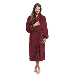 4 Units of Tahoe Fleece Shawl Collar Robe in Burgundy - Bath Robes