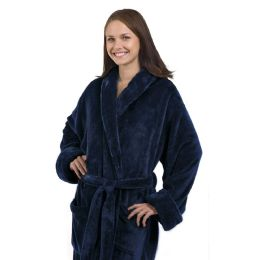 4 Units of Tahoe Fleece Shawl Collar Robe in Navy Blue - Bath Robes
