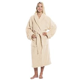 4 Units of Tahoe Fleece Shawl Collar Robe in Beige - Bath Robes