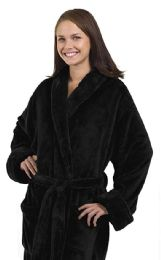 4 Units of Tahoe Fleece Shawl Collar Robe in Black - Bath Robes