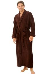 4 Units of Tahoe Fleece Shawl Collar Robe in Brown - Bath Robes