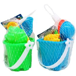 "72 Units of 3"" BEACH TOY BUCKET W/ACSS IN PEGABLE NET BAG, 2 ASSRT - Beach Toys"