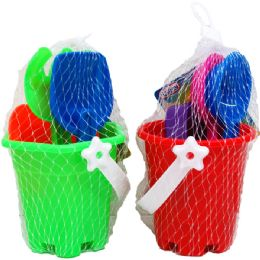 "72 Units of 3.5"" BEACH TOY BUCKET W/ACSS IN PEGABLE NET BAG, 4 ASSRT - Beach Toys"