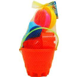 "12 Units of 6"" BEACH TOY BUCKET W/ACSS IN PEGABLE NET BAG, 2 ASSRT - Beach Toys"