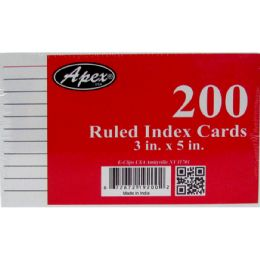 36 Units of Index Cards, 3x5, 200 Pk, White, Ruled - Labels ,Cards and Index Cards