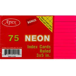 60 Units of Index Cards, 3x5, 75 Pk, Neon Colors, Ruled - Labels ,Cards and Index Cards