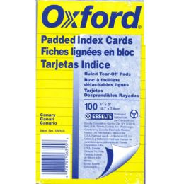 30 Units of Oxford 3x5 Index Card Pads, Canary, Ruled - Labels ,Cards and Index Cards
