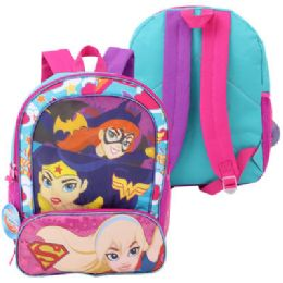 "24 Units of DC Super Hero Girls Backpack with Front Pocket-16"" - Backpacks 16"""