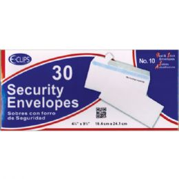 24 Units of Security Envelopes -30 ct - #10 - Self Seal - Envelopes