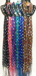 48 Units of Light Weight Scarves Solid Color with Polka Dots Fringe - Womens Fashion Scarves