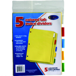 72 Units of Index Tab Dividers, 5 Pk., Asst. Color Tabs - Tab Dividers