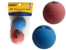 """72 Units of Bouncy Pet Balls 2pc 2.25""""D - Pet Toys"""