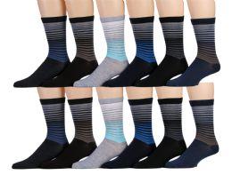120 Units of Mens Striped Fashion Dress Socks, Cotton Size 10-13 - Mens Dress Sock