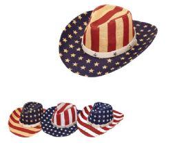 24 Units of USA Printed Cowboy Hat - Cowboy & Boonie Hat