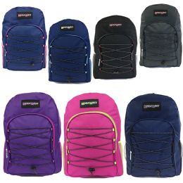 "24 Units of 16"" Padded Bungee Backpacks In Assorted Colors - Case of 24 - Backpacks 16"""
