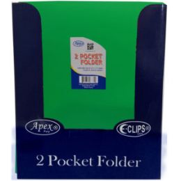 144 Units of 2 Pocket Folders, With Prongs, Asst. Colors, In Display - Folders and Report Covers