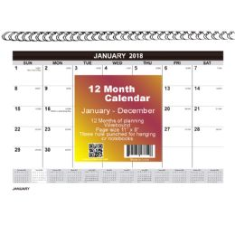 48 Units of 2018 12 Month Spiral Wall Calendar, 8x11, Month Per Page - Calendars & Planners