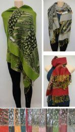 48 Units of Fashion Pashmina With Fringe [animal Prints] - Womens Fashion Scarves