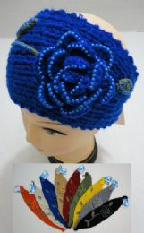 24 Units of Hand Knitted Ear Band w/ Beaded Flower & Leaves - Ear Warmers