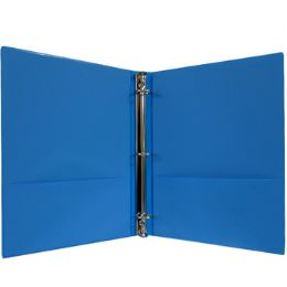 """24 Units of Vinyl binder, 1"""", 2 pockets, neon blue - Clipboards and Binders"""