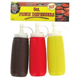 36 Units of 3 Pk 6oz Picnic Dispenser Bottles Plastic - Kitchen Gadgets & Tools