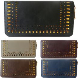 36 Units of One Zip Wallet With Laser Cut Design Edging And Contrast Background - Wallets & Handbags