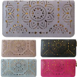36 Units of One Zip Wallet With Laser Cut Designs And Gold Background Contrast - Wallets & Handbags