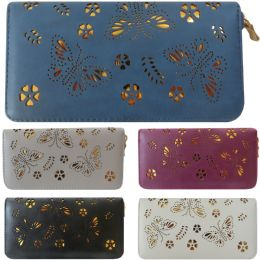 36 Units of Laser Cut Butterfly Design One Zip Faux Leather Wallet. - Leather Wallets
