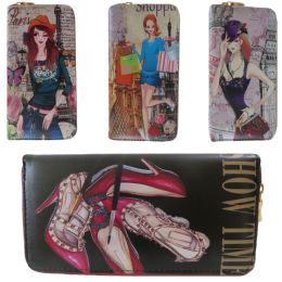 36 Units of Vivid Digital Image One Zip Wallet In Assorted Fashion Prints - Wallets & Handbags