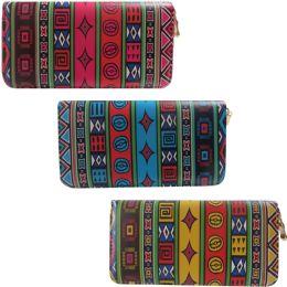 36 Units of Aztec Inspired One Zip Digital Image Wallet In Assorted Colors - Wallets & Handbags