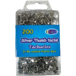 48 Units of Thumb Tacks, Silver, 200 Ct., - Push Pins and Tacks