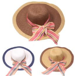 24 Units of Women's Ribbon Summer Sun Hat - Sun Hats