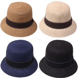 24 Units of High Quality Straw Woman Bucket Hat - Bucket Hats