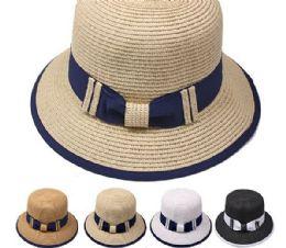 24 Units of High Quality Elegant Woman Straw Bucket Hat - Bucket Hats