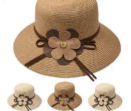24 Units of High Quality Flower Fisherman Straw Bucket Hat - Sun Hats