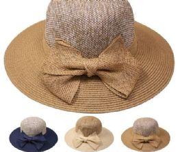 24 Units of High Quality Elegant Bow Tie Woman Straw Hat - Sun Hats
