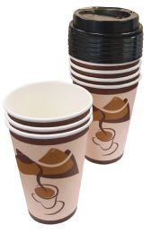48 Units of Hot Cups 16 Pk 8 Oz - 8 Cups + 8 Lids - Disposable Cups