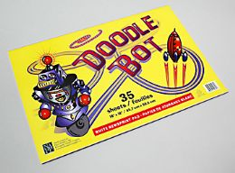 72 Units of Doodle Bot White Newsprint Pad With Cover 35 Sheets 18 X 12 - Sketch, Tracing, Drawing & Doodle Pads