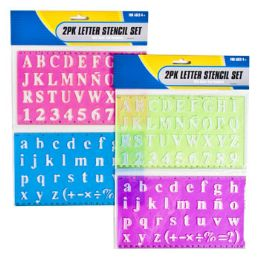 72 Units of 2 Pack Letter Stencil/ 2 Asst W/ Ruler - Labels ,Cards and Index Cards