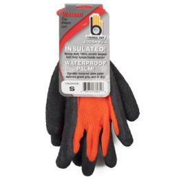 72 Units of Small Insulated Thermal Knit Orange Glove Hvy Duty Latex - Kitchen Gloves