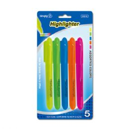 96 Units of 5 Piece Highlighter - Markers and Highlighters