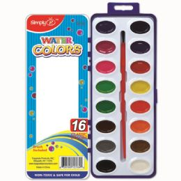 96 Units of Sixteen Watercolor With Brush - Paint, Brushes & Finger Paint